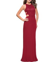 women's la femme cutout embellished column gown, size 0 - red