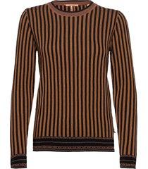 basic striped pullover stickad tröja brun scotch & soda