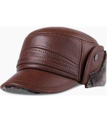 mens outdoor casual confortevole inverno caldo caldo in pelle peluche cappello piatto esterno proteggi orecchio cap
