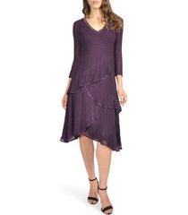 women's komarov embellished tiered chiffon a-line dress, size medium - purple