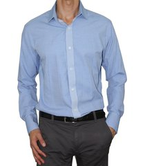 camisa slim fit cuello frances aranzazu charles azul