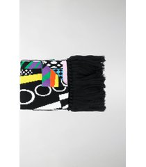versace logo embroidered scarf