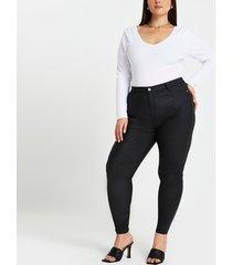 river island womens plus black coated high waisted skinny jeans