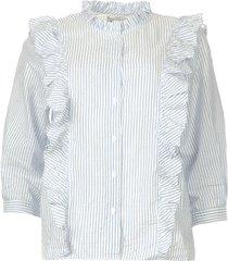 blouse met ruches hanni  lichtblauw
