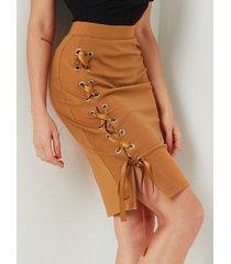 falda de cintura media de diseño naranja con cordones yoins