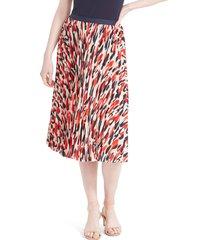 women's nic+zoe santa fe pleated skirt, size large - red