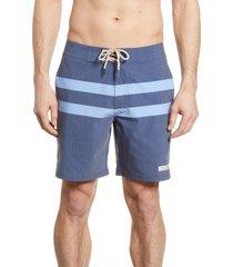 fair harbor nautilus stripe board shorts, size 34 in dark denim stripe at nordstrom