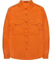 10 feet blouse withcollar in dobby dot cinnamon oranje