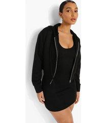 mini jurk met bandjes en korte hoodie set, black