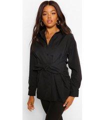 lange katoenmix blouse met strik, zwart