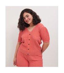 blusa de retilinea curve e plus size rosa