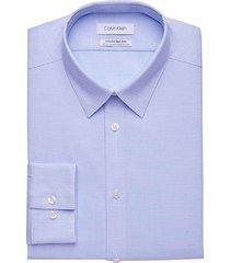 calvin klein men's infinite non-iron blue micro-dot slim fit stretch dress shirt - size: 19 38/39