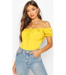 shirred jersey peasant top, mustard