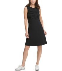 dkny sleeveless ruched-top dress