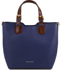 tuscany leather tl141696 tl bag - borsa a mano in pelle saffiano blu scuro