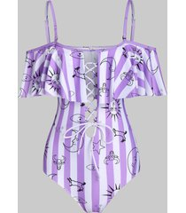 sun moon star striped print padded one-piece swimwear
