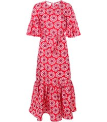la doublej curly swing patterned dress - red