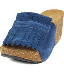 sandalia cuero flecos jeans nara