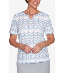 alfred dunner women's missy french bistro zig zag biadere sweater