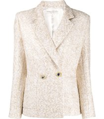 alessandra rich embroidered fitted blazer - neutrals