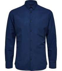 selected homme heren overhemd donker linnen kent slim fit blauw