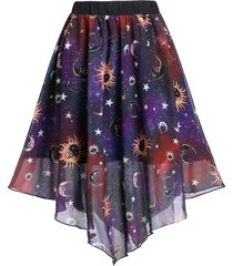 knee length sun and moon print layered skirt