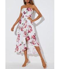 yoins top de tubo con estampado floral y dobladillo con aberturas maxi vestido