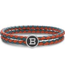 """ben sherman braided leather double stranded station """"b"""" men's bracelet"""