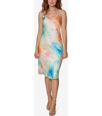 sage collective tie-dyed jersey cowlneck dress