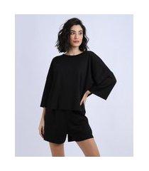 pijama feminino amplo manga 3/4 preto
