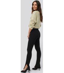 na-kd zip detail long jersey pants - black