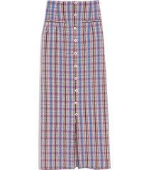 button down pencil skirt in blue plaid