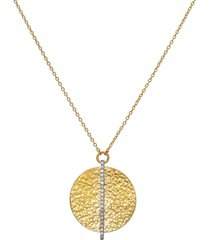 lush pave diamond circle pendant necklace