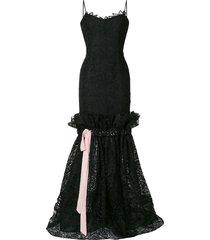 carolina herrera ribbon lace dress - black
