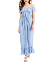 style & co striped ruffled maxi dress, created for macy's