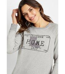 maurices womens gray louisiana crew neck sweatshirt