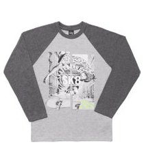 camiseta livy inverno skateboarding mescla médio/mescla escuro