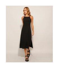 vestido canelado midi alça fina preto