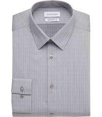 calvin klein men's sustainable gray & purple grid slim fit dress shirt - size: 15 34/35