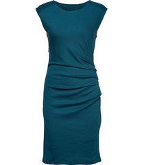 india round-neck dress knälång klänning blå kaffe