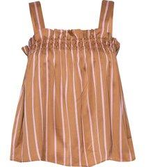 2nd bradley stripe blouse mouwloos bruin 2ndday