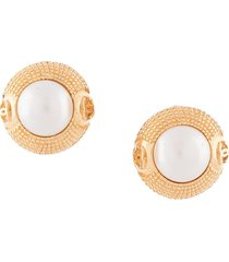 chanel pre-owned faux pearl embossed earrings - gold