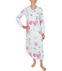 miss elaine printed brushed waffle long nightgown