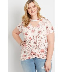 maurices plus size womens 24/7 ivory twist hem floral tee pink