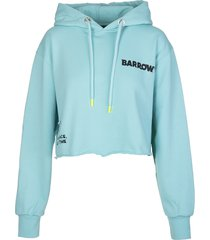 barrow mint green crop hoodie with planet logo and strass
