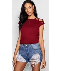 basic strappy shoulder detail t-shirt, wine