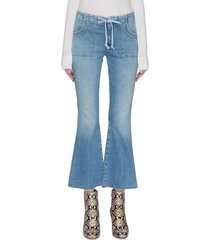 'tie patch weekender ankle fray' flared jeans