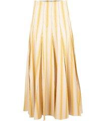 yellow and white million pleats maxi skirt