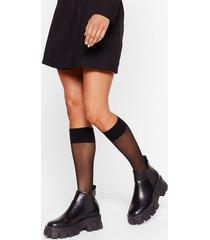 womens livin' on the edge mesh knee-high socks - black