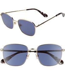 women's kate spade new york kiylah 53mm square sunglasses - gold/ blue